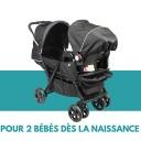 Bambisol – Combiné Poussette Double & Siège Auto Gr0+, Pour 2 Bébés/Jumeaux dès la Naissance (Habillage Pluie Inclus) – Jouets pour enfant