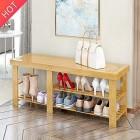Banc de chaussures de bambou à 2 niveaux, organisateur de stockage de porte-chaussures, panneau de stockage multifonctionnel anti-poussière massif, capacité de charge max – Divertissement pour enfant