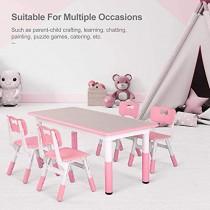 Ensemble Table et Chaises pour Enfant,Table d'enfant, Inclus 1 Table et 4 Chaises, Table à Dessin Réglable en Hauteur pour Enfants de 2 à 10 Ans (Rose) – Jouet pour enfant