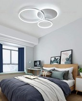 Salon Luminaire Plafonnier LED Dimmable avec Télécommande, Chambre Lampe Géométrique Design Lustre pour Salle à Manger Salon Café Hôtel Bureau Luminaire (Blanc, Plafond-3 – Jouets pour enfant