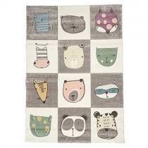 Tapis Enfant 160×230 cm Rectangulaire Zoo Too Gris Chambre adapté au Chauffage par Le Sol – Jouet pour enfant