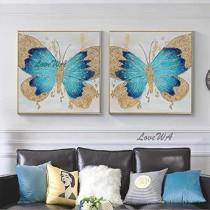 ZNYB Tableau Mural Decoration Papillon Toile Peinture à l'huile à la Main Abstraite Feuille d'or Animal Mur Art sur Toile Mur Photo Art vitrine pour Chambre d'enfants – Jouets pour enfant